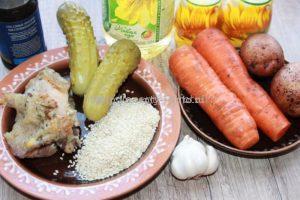 Ингредиенты для салата с кунжутом