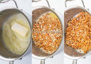В растопленное сливочное масло засыпаем соломку