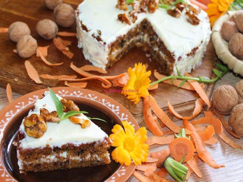 готовый торт с добавлением моркови