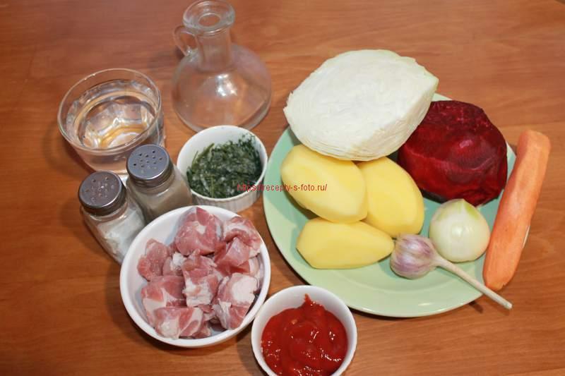 продукты для приготовления борща