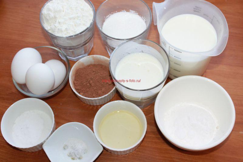 компоненты для приготовления пирога с кремом