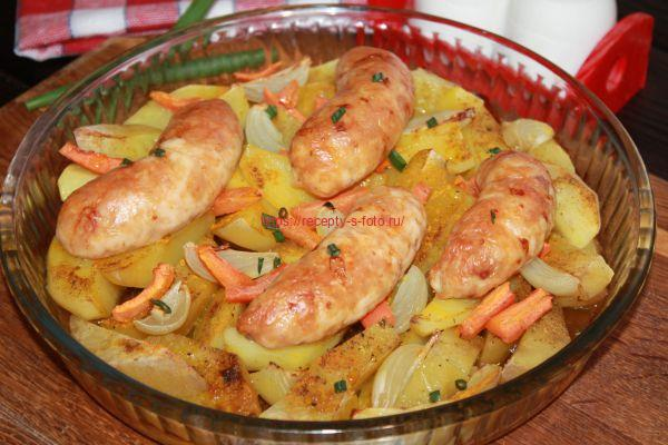 картошка с колбасками в духовке просто и быстро