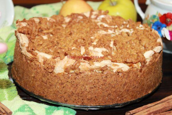десерт с яблоками и безе