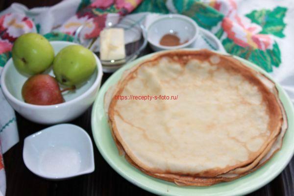 продукты для приготовления блинов с яблоками