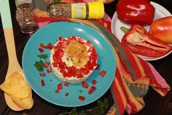 салат с чипсами на тарелке